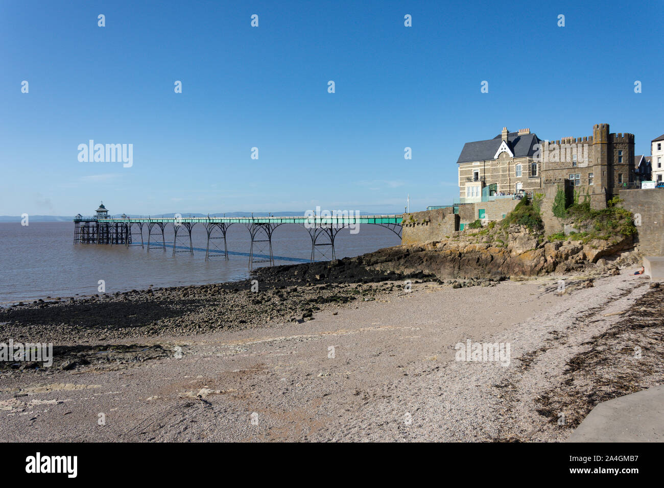 Clevedon Beach and Pier, Clevedon, Somerset, England, United Kingdom Stock Photo