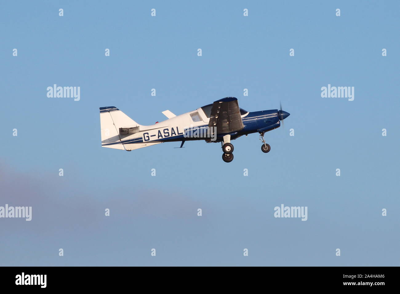 G-ASAL, the only Model 124 Scottish Aviation Bulldog, and former company demonstrator, departing from its home base at Prestwick Airport in Ayrshire. Stock Photo