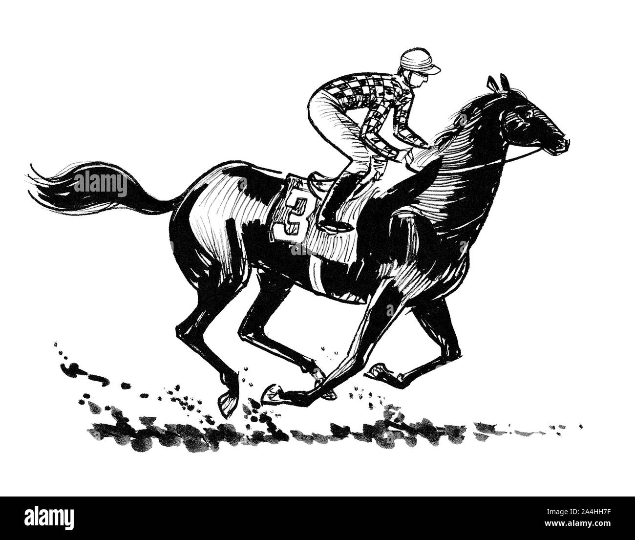 Jockey Riding A Horse Ink Black And White Drawing Stock Photo Alamy