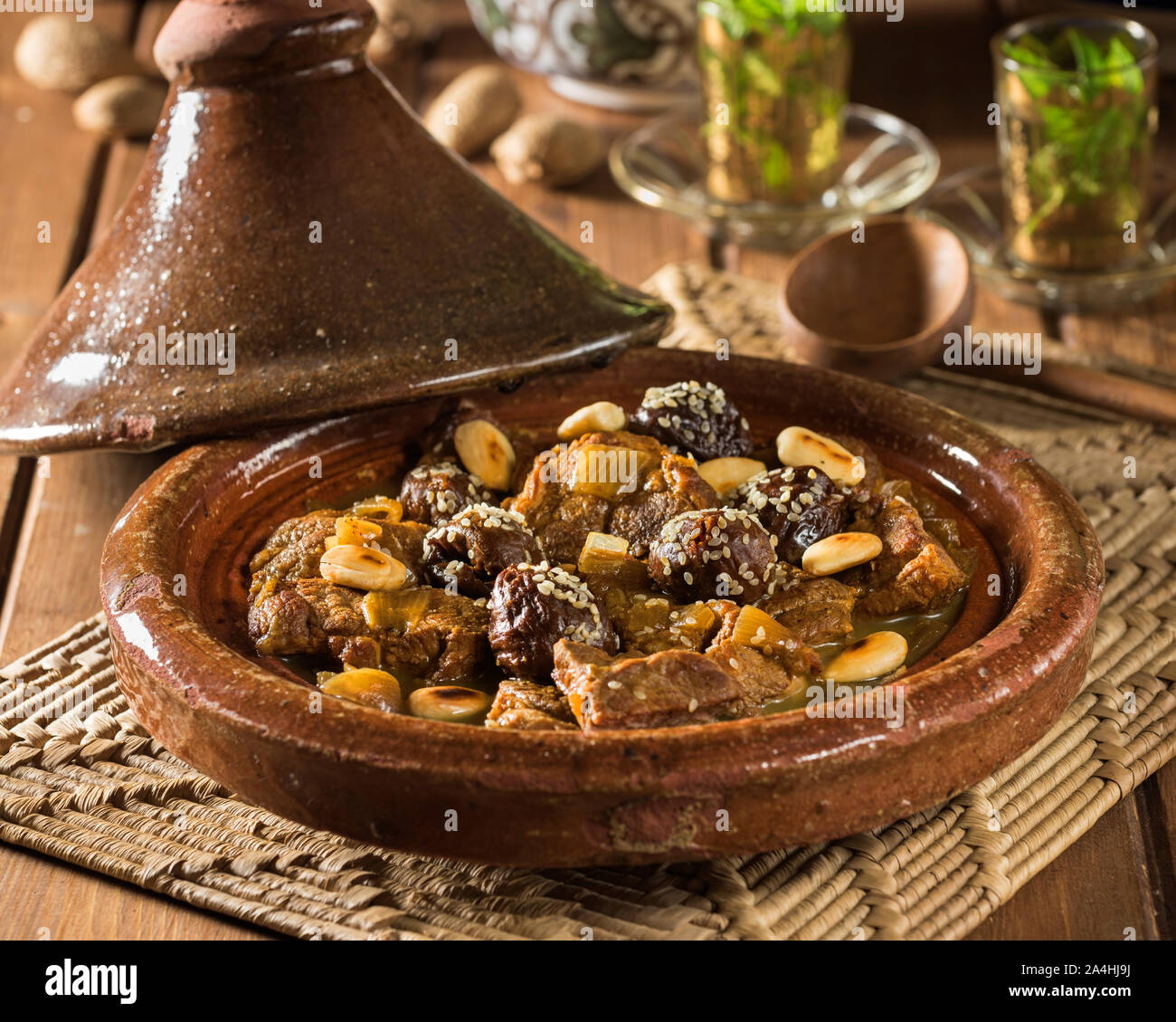 Tagine of lamb with prunes and almonds. Morocco Food Stock Photo