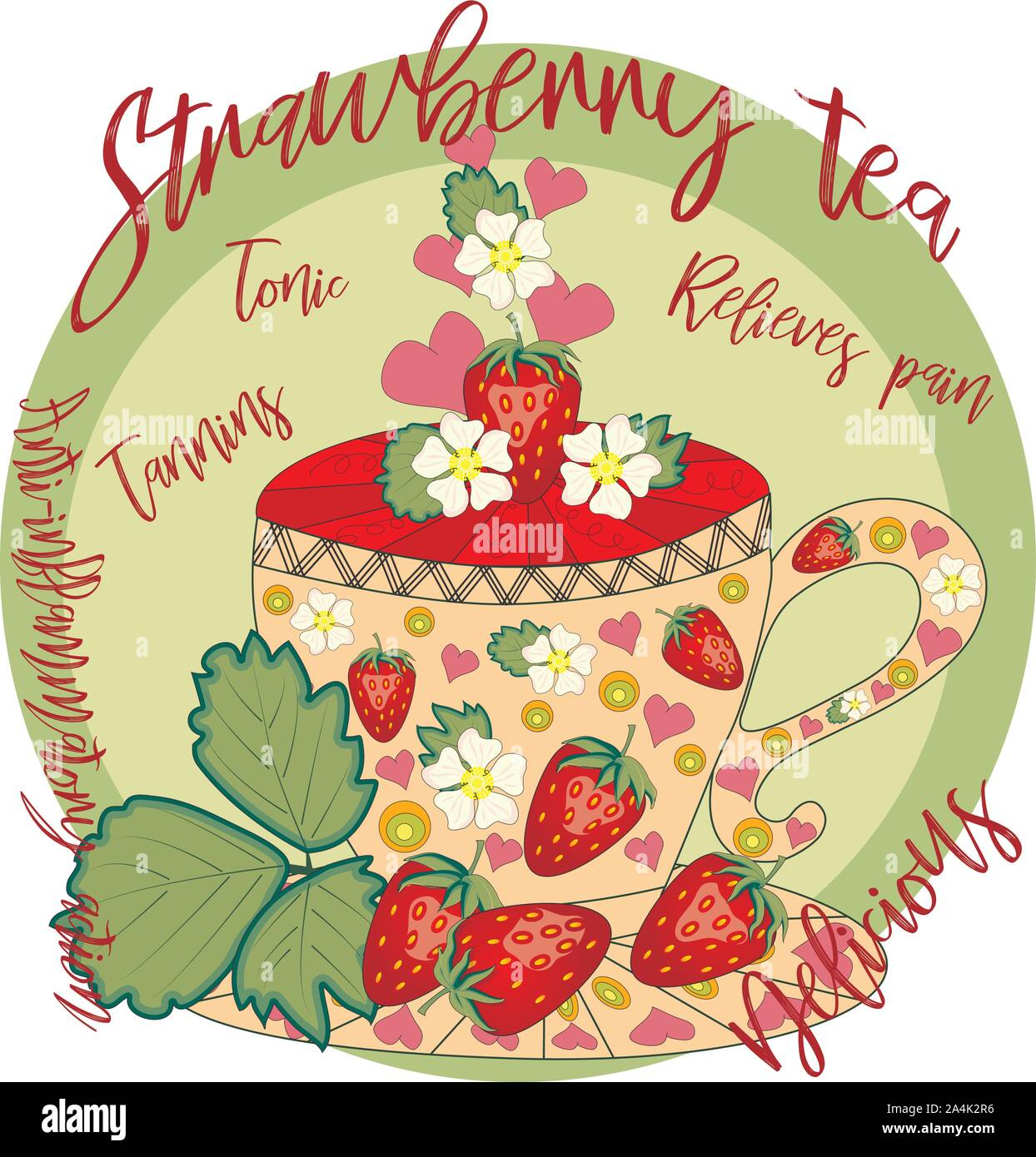 Strawberry tea. Tea cooked with love. A cup with strawberries, decorated with leaves and flowers Stock Vector
