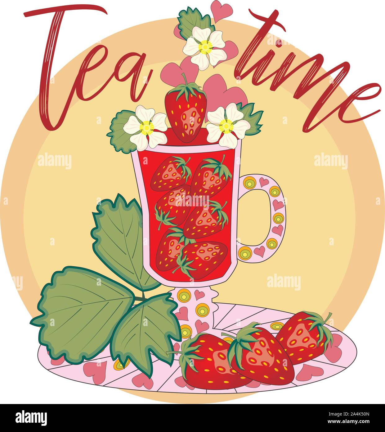 Strawberry tea. Tea cooked with love. A tall glass for mulled wine with strawberry berries, decorated with leaves and flowers, inscriptions about util Stock Vector