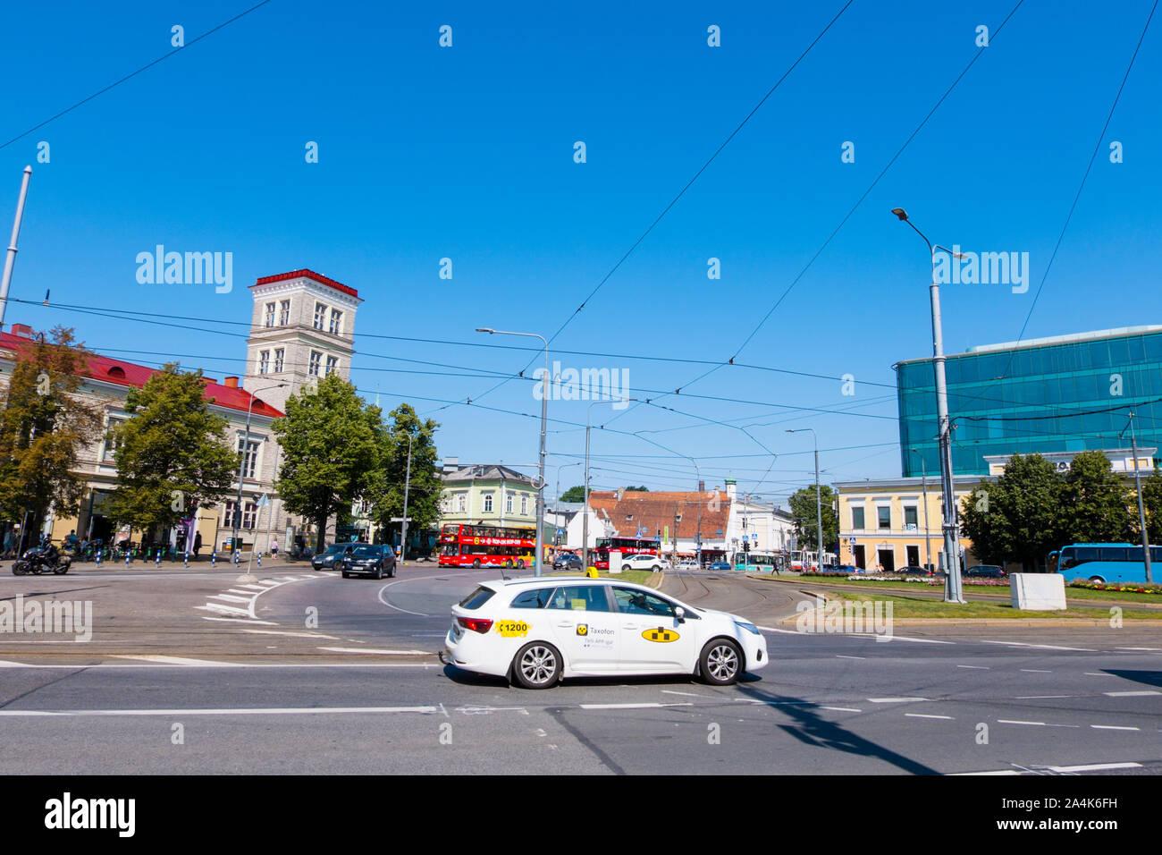 Taxi, Viru väljak, Estonia square, Kesklinn, Tallinn, Estonia Stock Photo