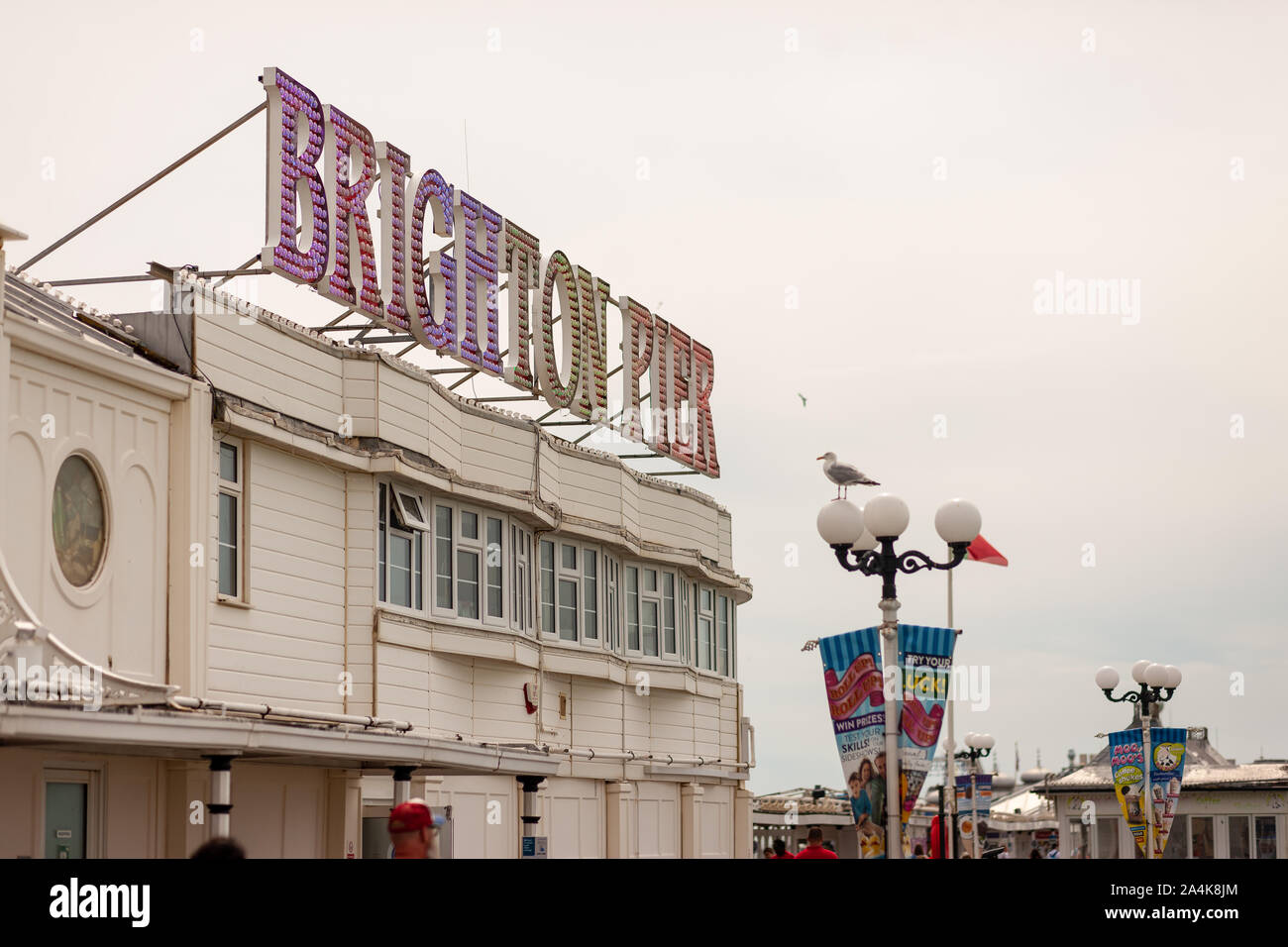 Colour landscape images of Brighton Palace Pier, in Brighton, East Sussex, England. Stock Photo