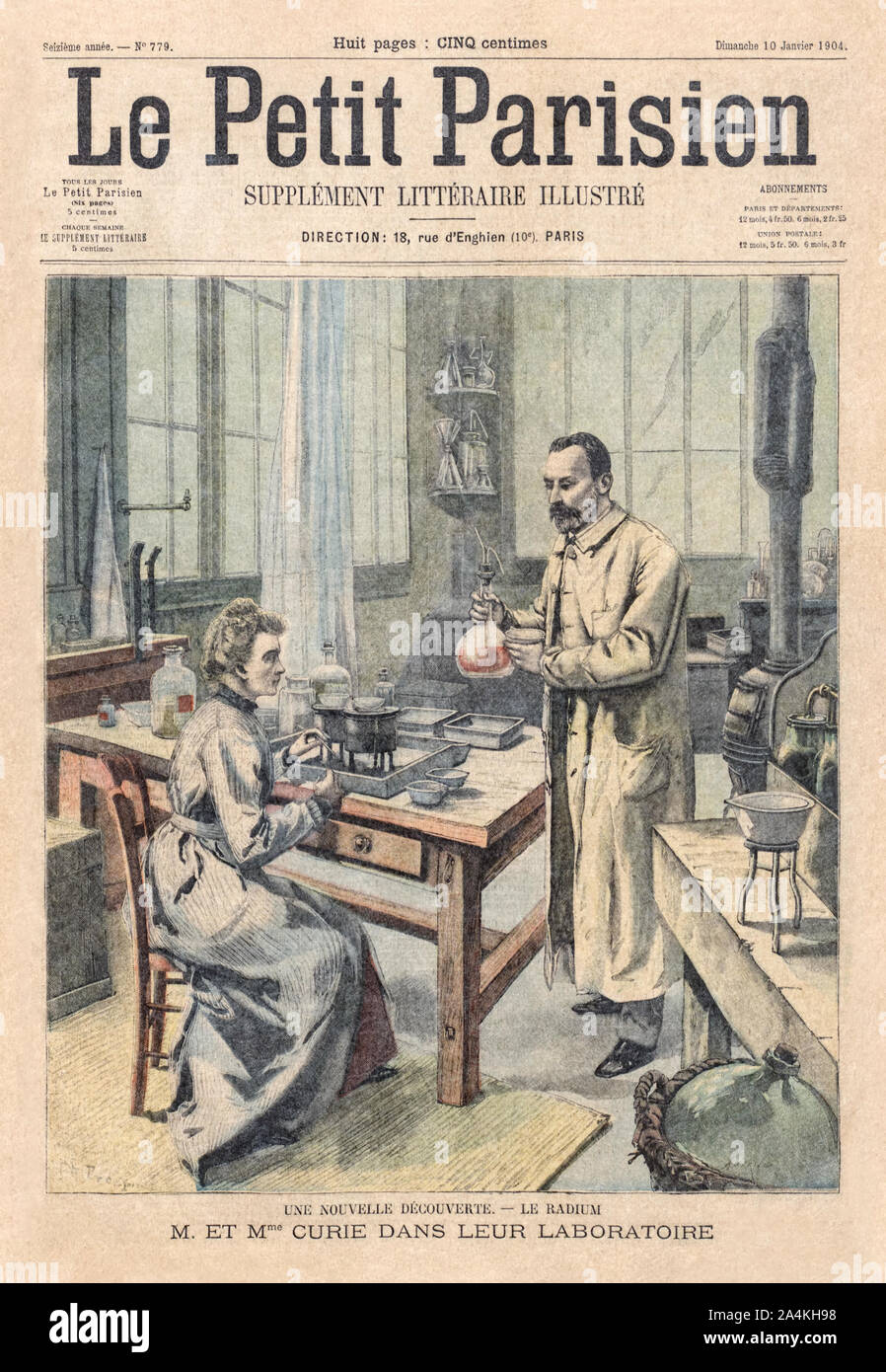 Marie Curie (1867-1934) and Pierre Curie (1859-1906) shown conducting an experiment on the cover of the Le Petit Parisien Illustrated literary supplement 10 January 1904 in honour of their joint winning of the Nobel Prize for their pioneering research on radioactivity shortly before in 1903. Marie Curie was the first woman to be awarded a Nobel Prize. Stock Photo