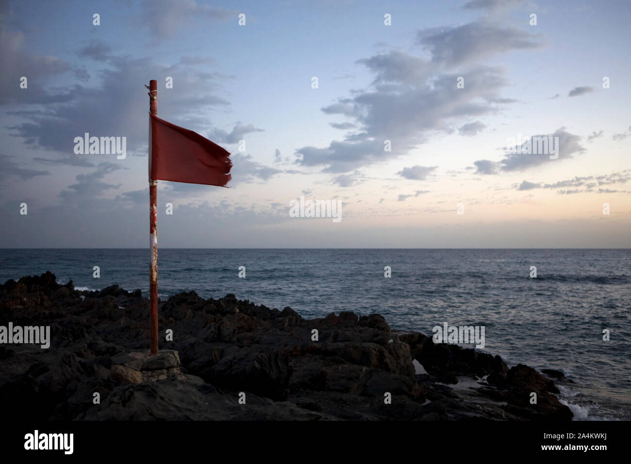 Seamark. Red flag. Stock Photo