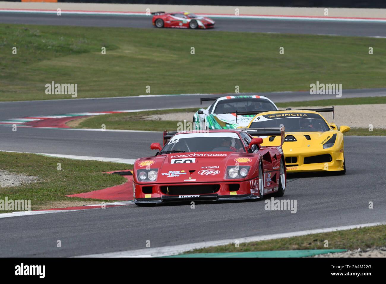 MUGELLO, IT, October, 2017: Vintage Ferrari F40 GT in action at the Mugello Circuit during Finali Mondiali Ferrari 2017. italy. Stock Photo