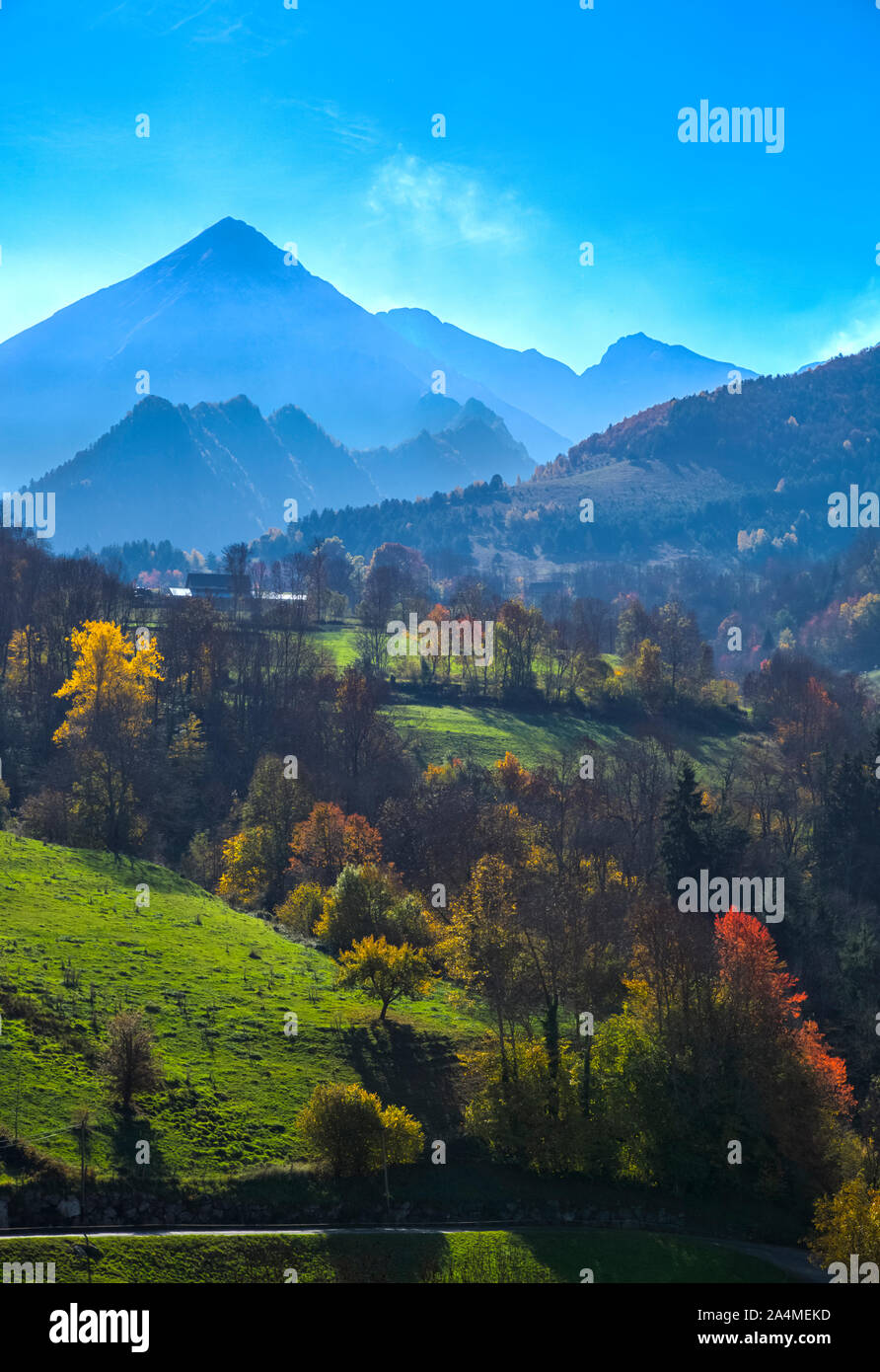 Early autumn landscape located in the French Pyrenees Mountains. Stock Photo