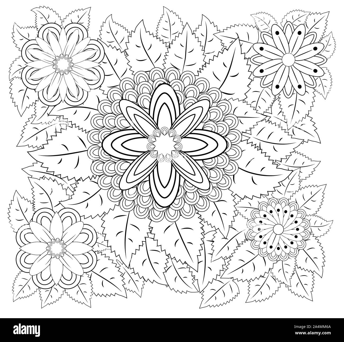 Coloring book for adult and older children. Coloring page with vintage flowers pattern. Stock Photo