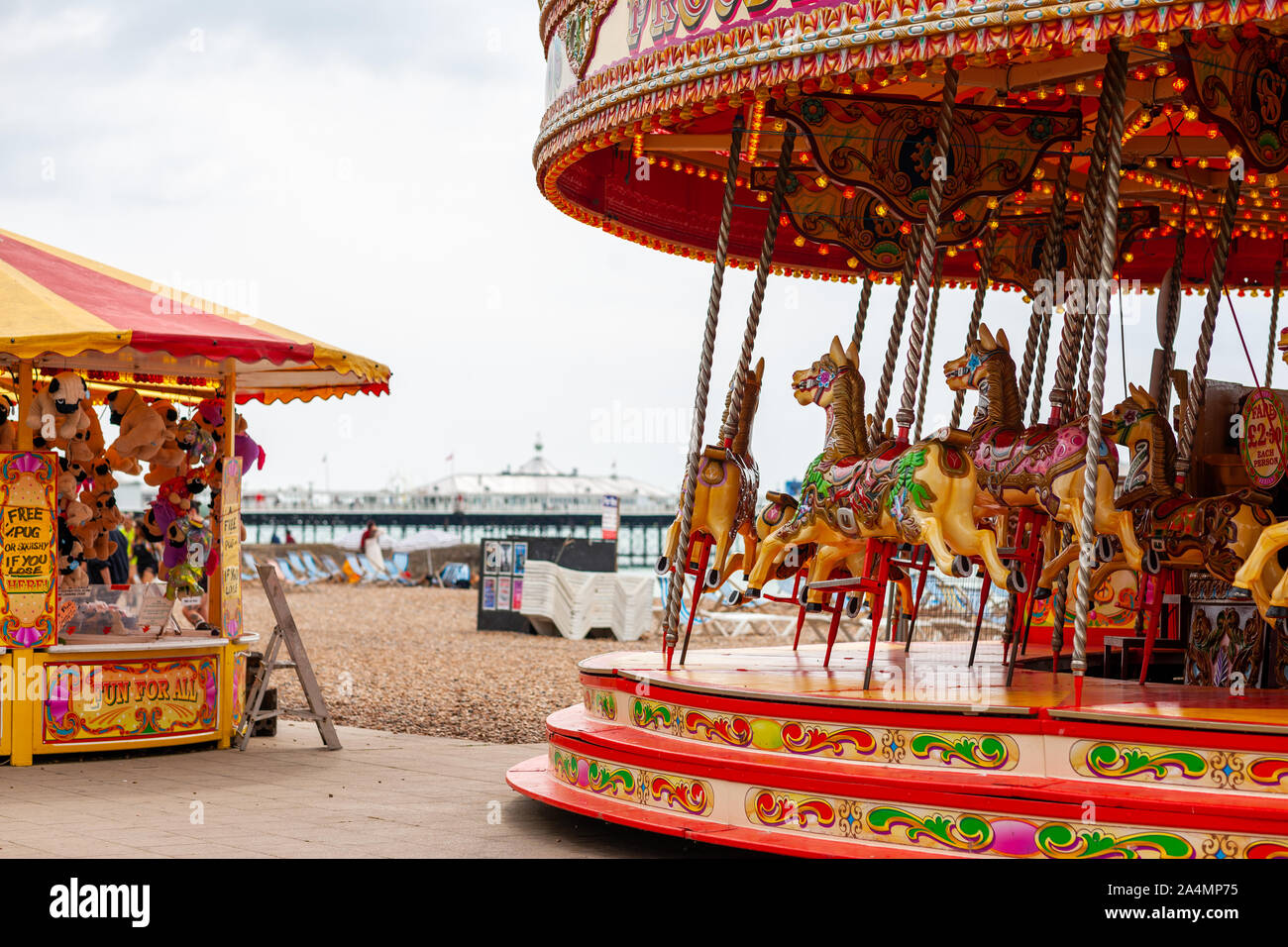 The seaside resort town of Brighton and Hove in East Sussex, England on August 3, 2019. Stock Photo