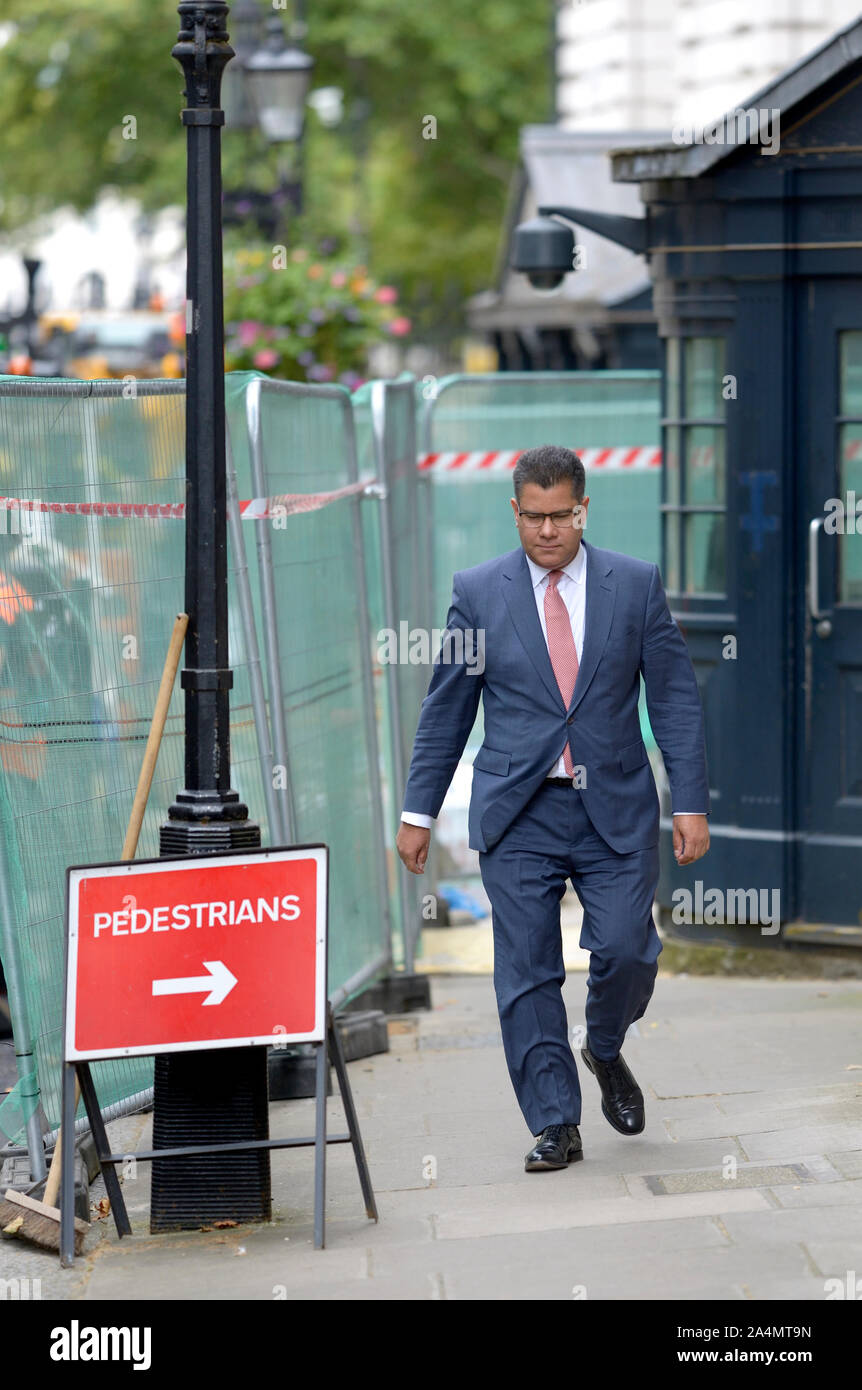 Alok Sharma MP (Int Development) arrives in Downing Street for a gathering at Number 10, 2nd September 2019. Stock Photo