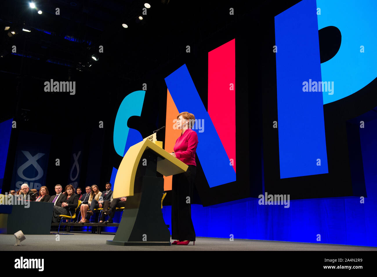 Aberdeen, UK. 15 October 2019.  Pictured: Nicola Sturgeon - First Minister of Scotland and Leader of the Scottish National Party (SNP) delivers her keynote speech on getting Scottish Independence to close the Scottish National Party Conference, Aberdeen, UK. The Event Complex Aberdeen (TECA). Credit: Colin Fisher/Alamy Live News Stock Photo