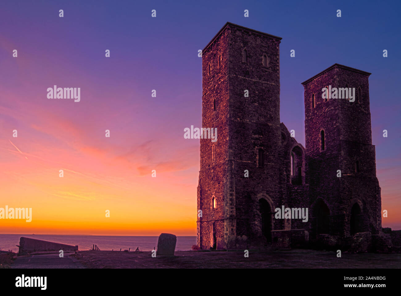 Reculver twin towers sunset Stock Photo