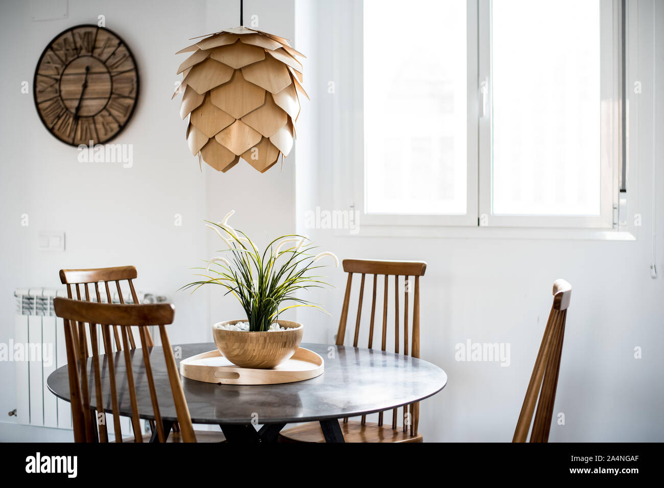 Beautiful interior design house and modern wooden table and chair Stock Photo