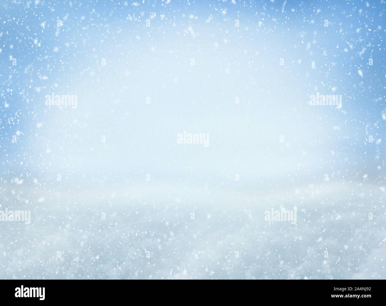 Winter Christmas background with falling snowflakes on blue background. Background for design with copy space Stock Photo