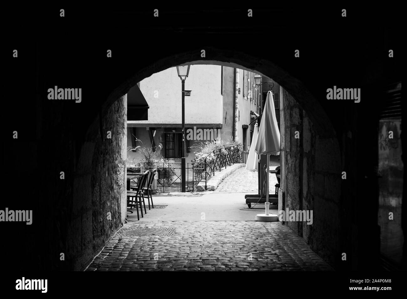 Black and white image of Archway in Annecy, France Stock Photo