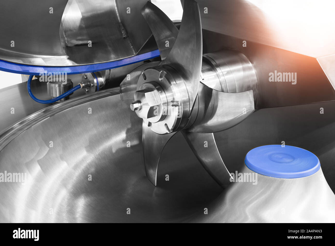 Industrial open mixer in food industry close-up Stock Photo