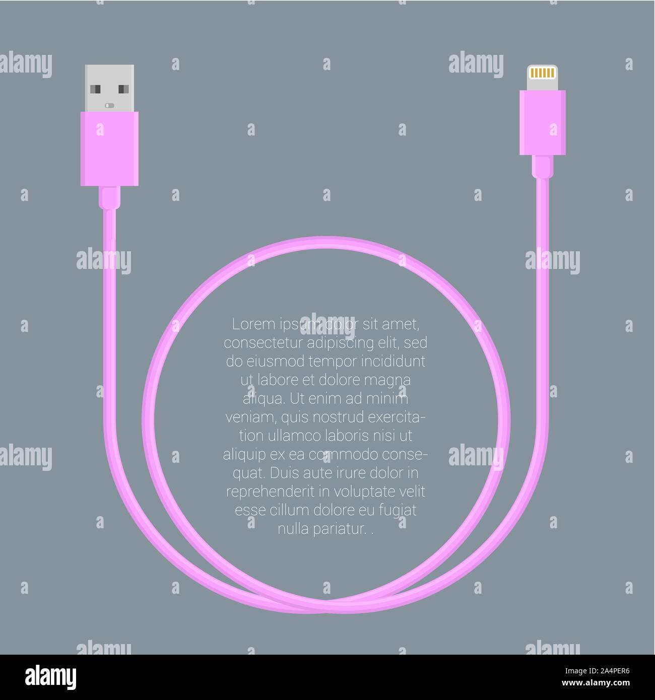 Usb data cable template Stock Vector