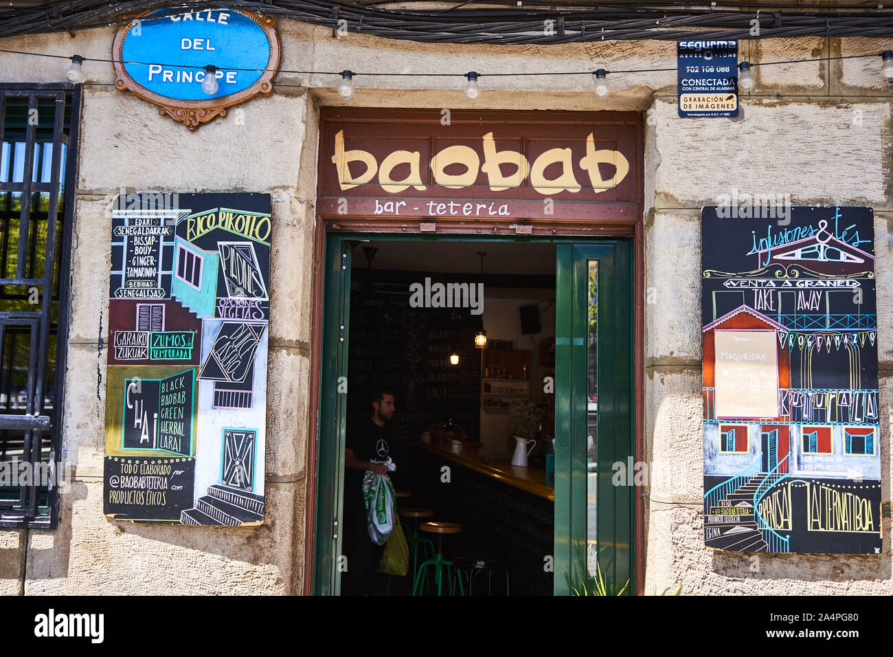 Baobab, bar and teteria next to the riverside in Bilbao Stock Photo