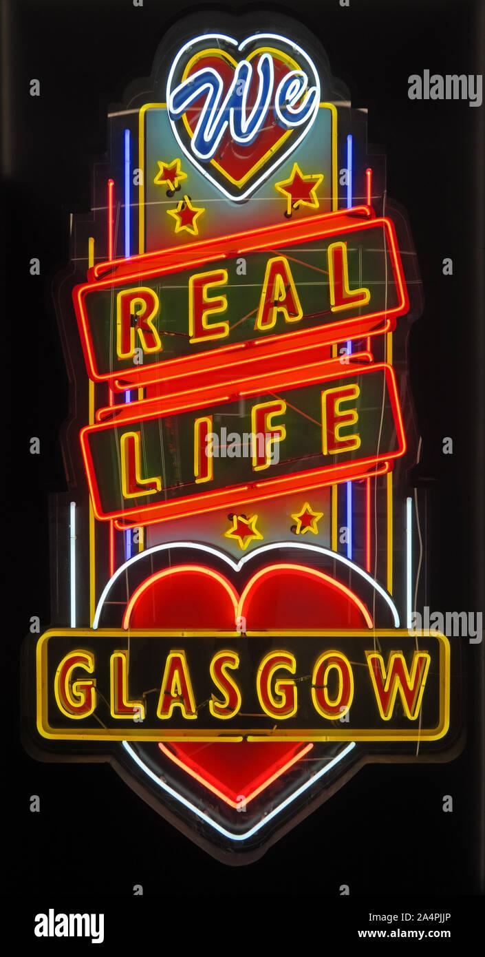 Glasgow School Of Art, Neon Sculptural Artwork, artist Sinclair Ross, Stock Photo