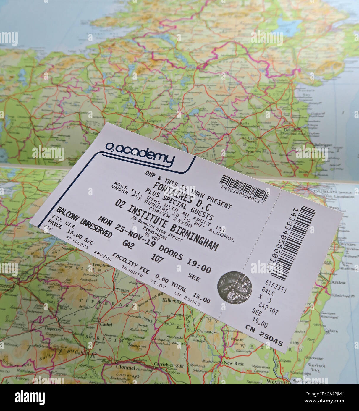 Fontaines D.C. post-punk rock band from Dublin, Ireland, ticket for Birmingham O2 Institute Digbeth High St, 25-Nov-2019 Stock Photo