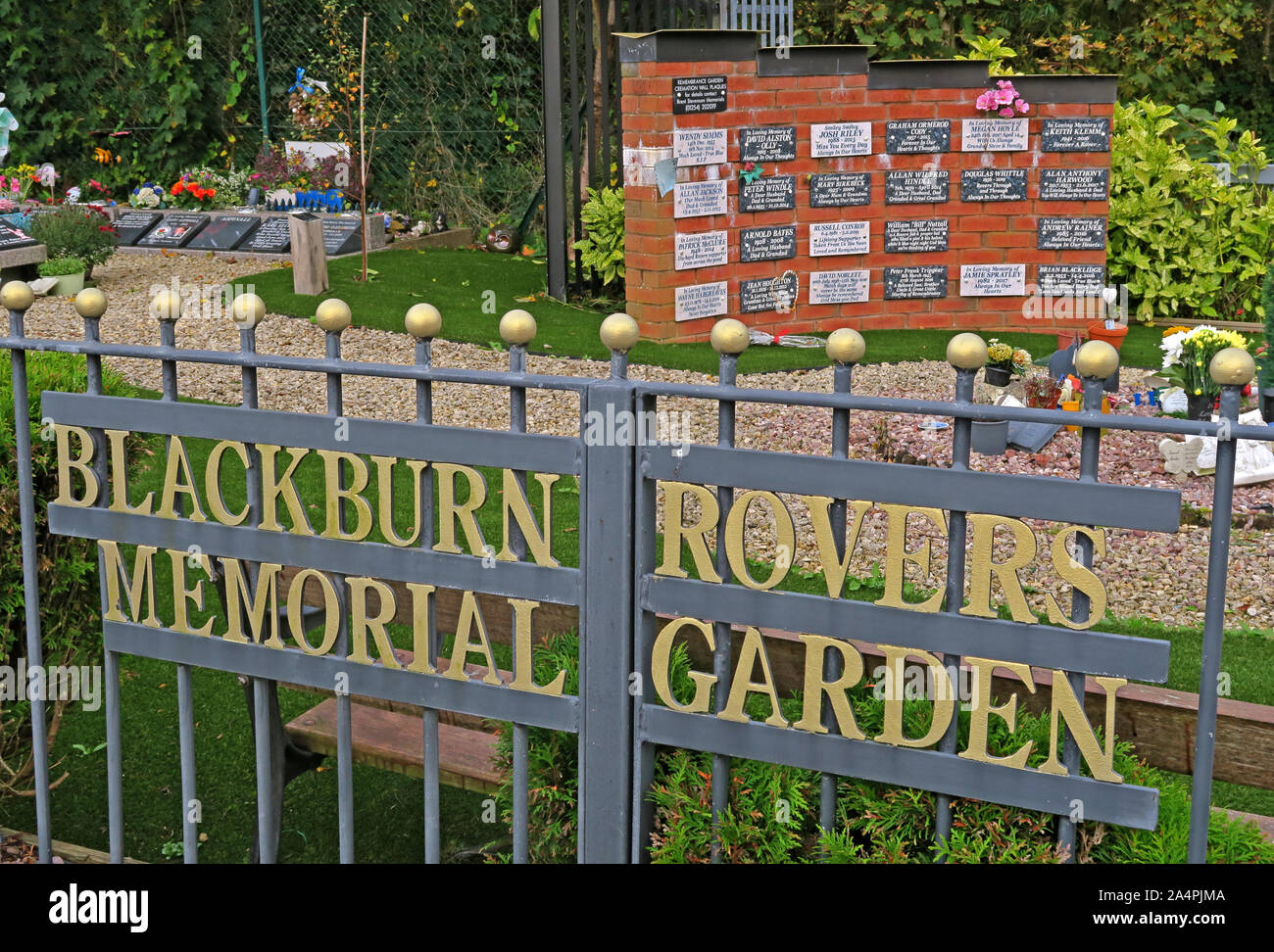 Blackburn Rovers FC Memorial Garden, Football Stadium, Ewood, Lancashire, England, UK, BB2 4JF Stock Photo