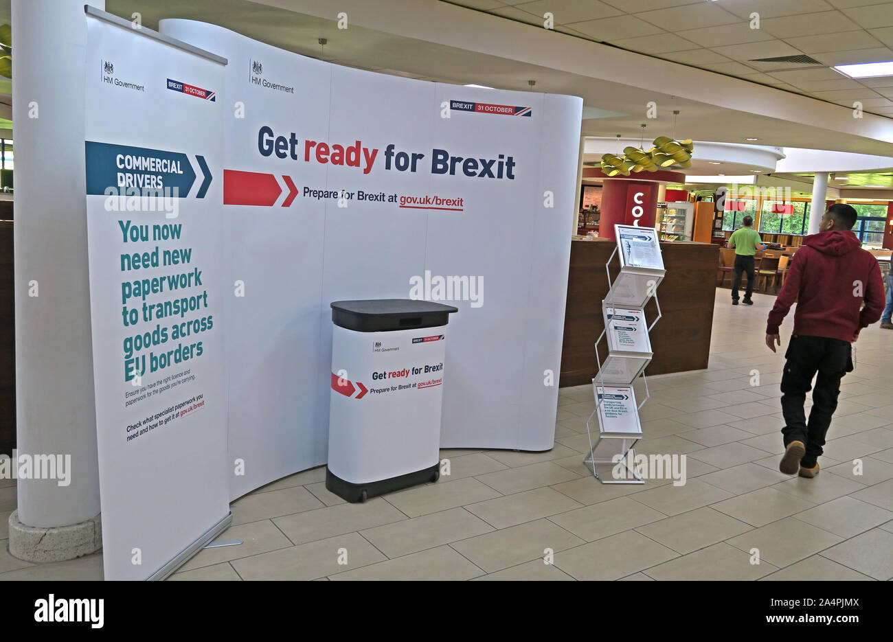 Get Ready For Brexit stand, at M5 Motorway Services, Gloucestershire, South West England, UK Stock Photo