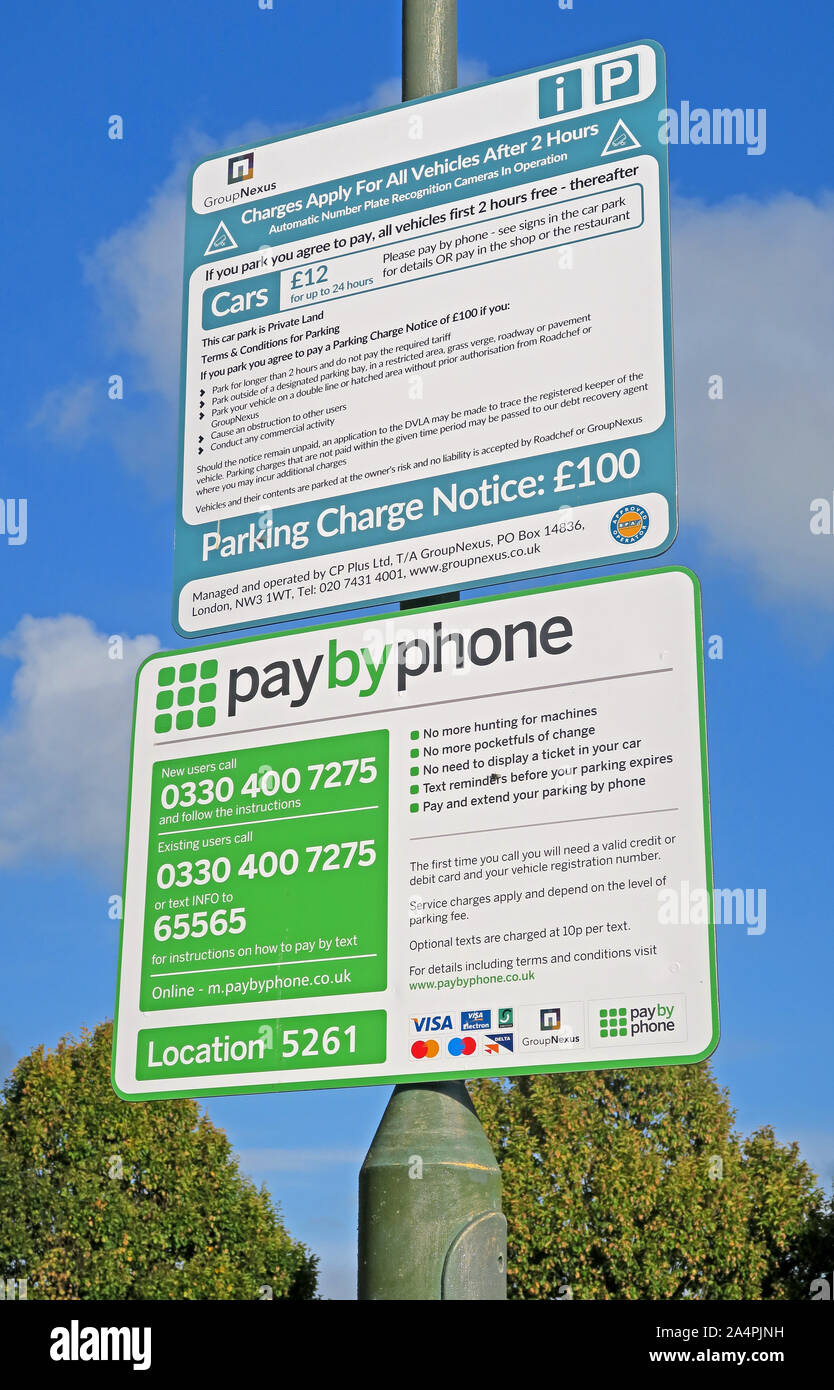 PayByPhone UK parking signs GroupNexus operated at M5 Motorway Services, ANPR, Worcestershire, England, UK Stock Photo