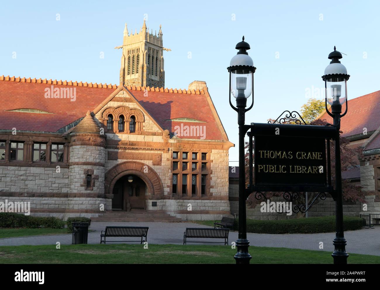 The Thomas Crane Public Library in Quincy Massachusetts Stock Photo