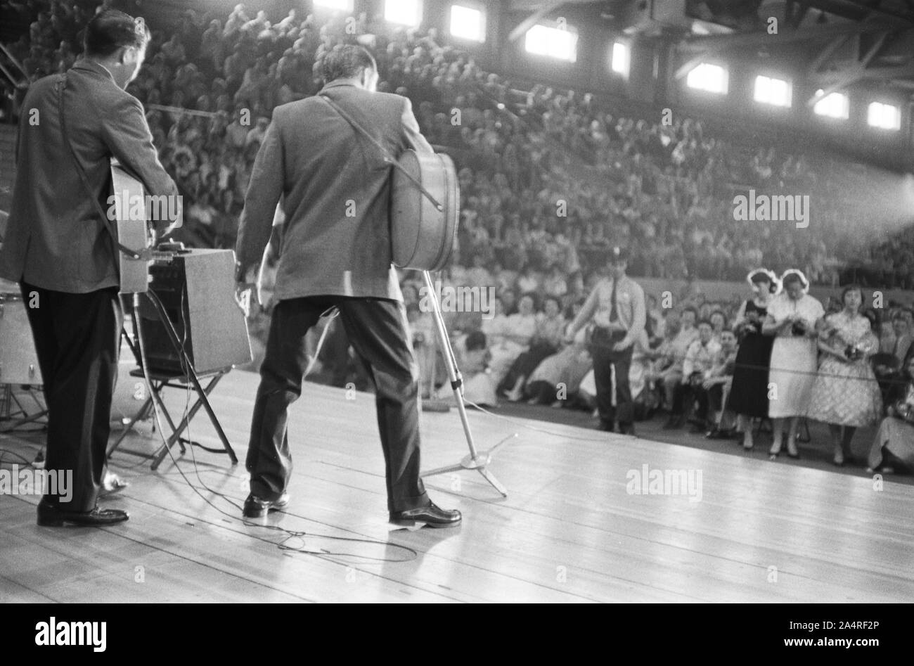 Elvis Presley during a performance at the University of Dayton Fieldhouse, May 27, 1956. Stock Photo