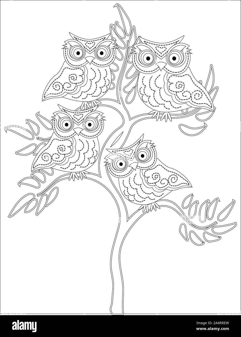Coloring Book For Adult And Older Children Coloring Page With Cute Owl And Floral Frame Outline Drawing In Zentangle Style Stock Photo Alamy