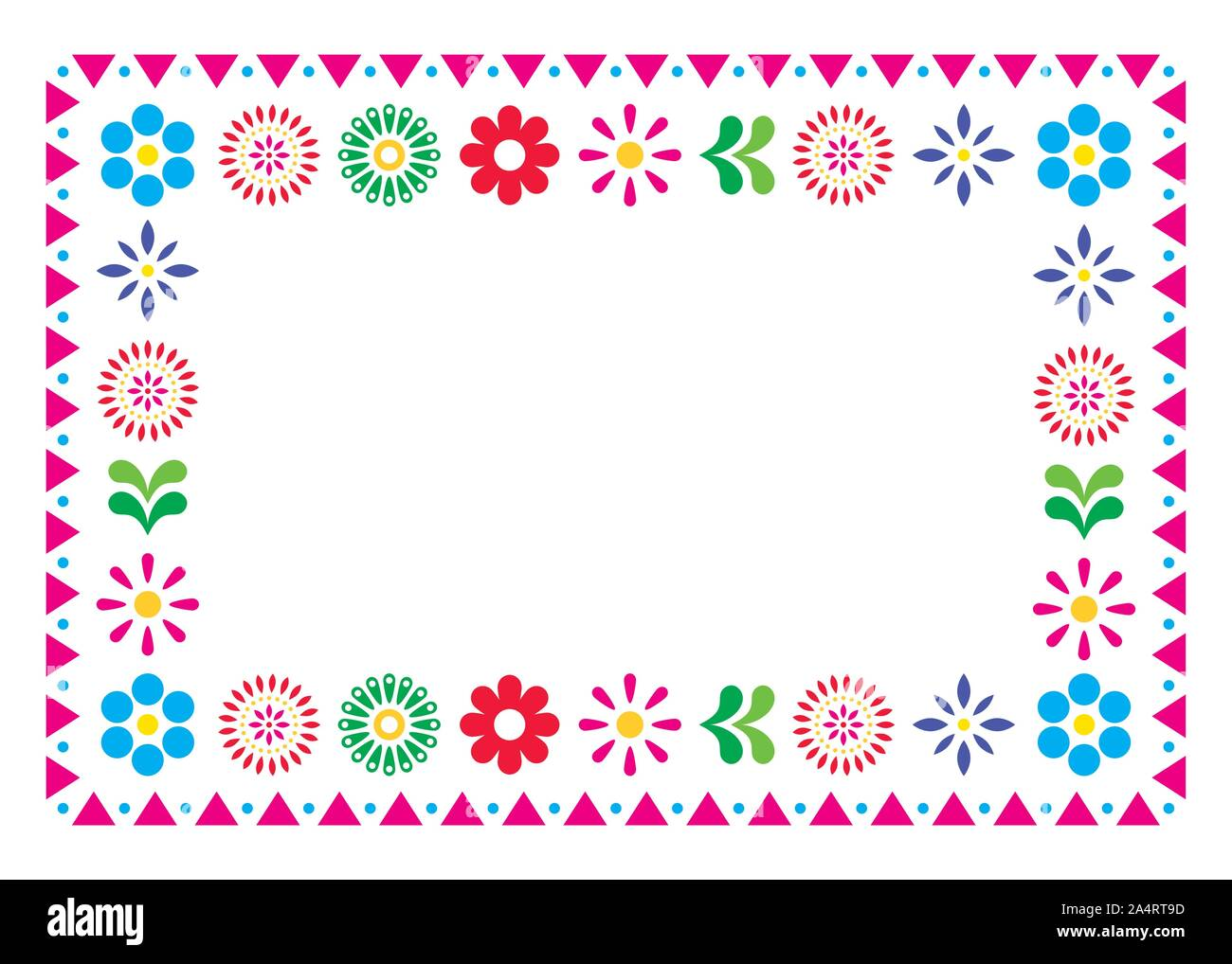 Mexican vector greeting card or wedding invitation, decorative design with flowers and abstract shapes inspired by traditional art from Mexico Stock Vector