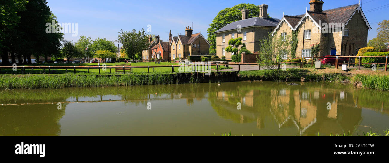 Summer view of the duck pond in Ramsey town, Cambridgeshire England UK Stock Photo