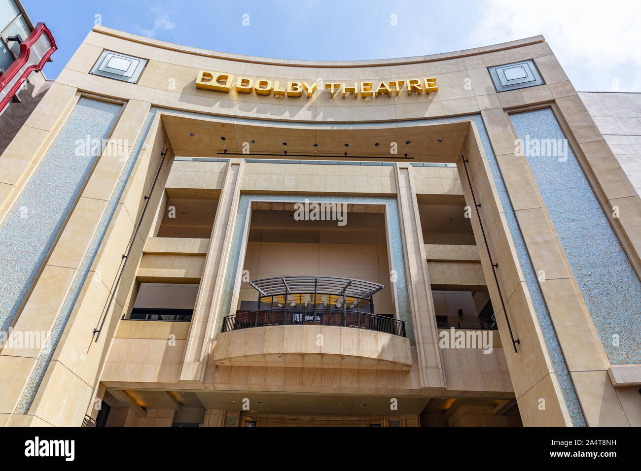 Los Angeles, California, USA. May 31, 2019. Front upwards view of the Dolby Movie Theatre, also known as the Kodak Movie Theatre, located in LA Stock Photo