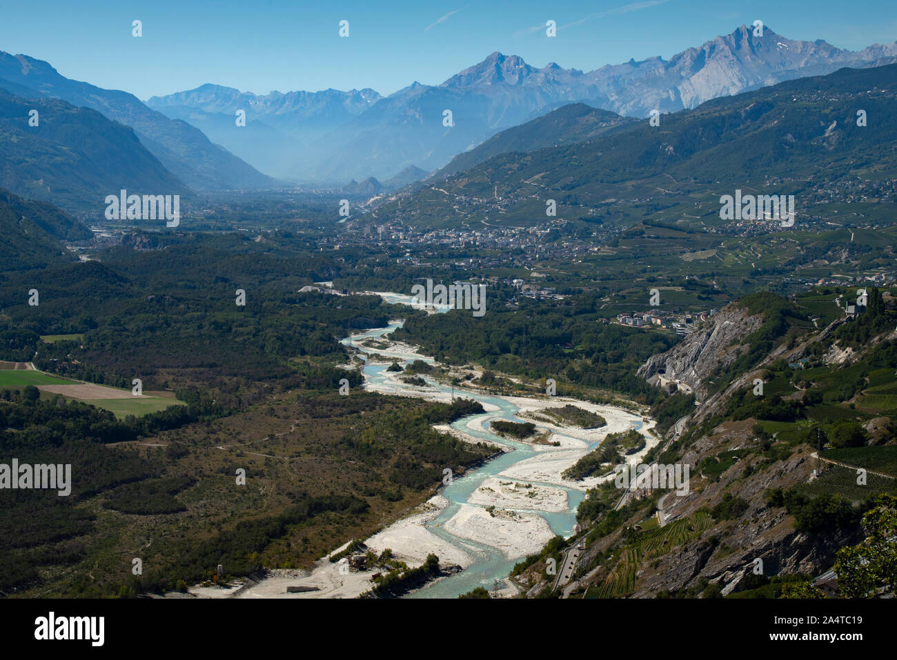 Rhone Valley Valais Switzerland looking east towards Sierre Sept 2019 The River Rhone slows down on the flat valley floor resulting in silting up prob Stock Photo