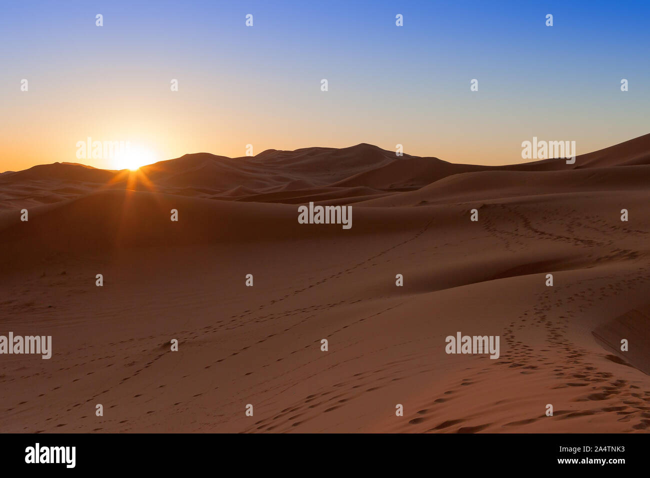 Erg Chebbi, Morocco, sand dunes of Sahara desert formed by wind are awakening in the first rays of the day, illuminated by the sun. Stock Photo