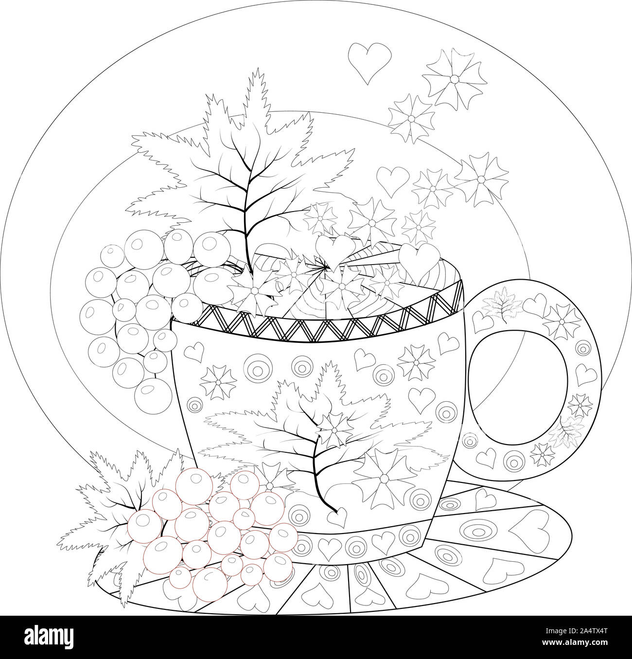 hand draw coloring book for adult teatime cups of tea fruits and flowers 2A4TX4T