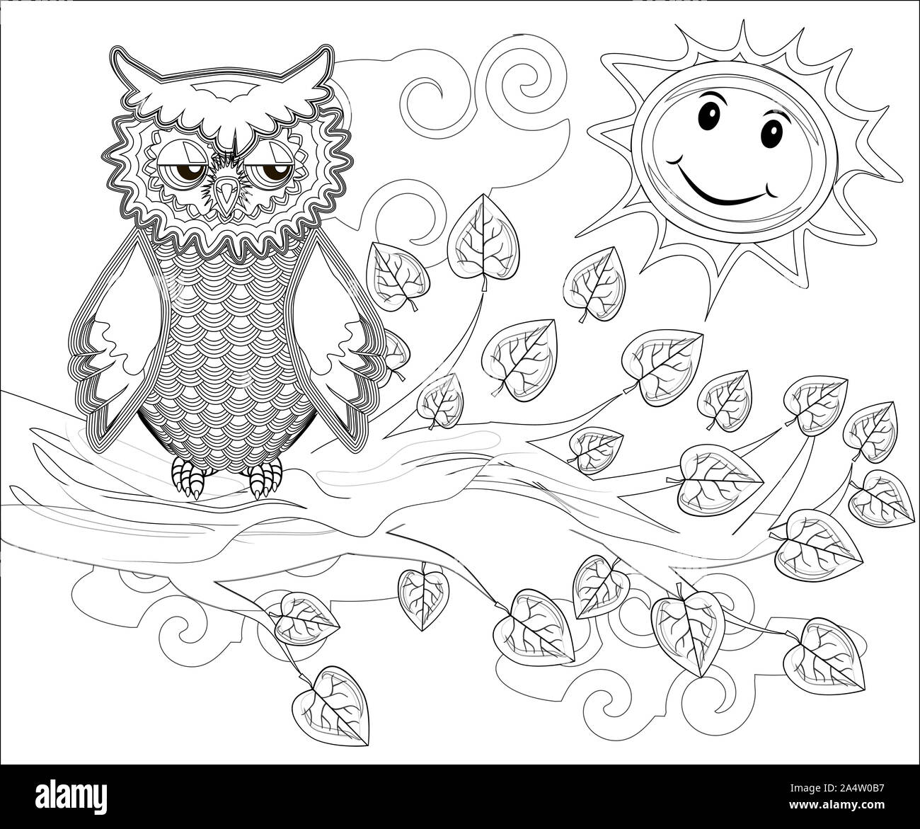 coloring pages birds cute owl sits on the tree 2A4W0B7