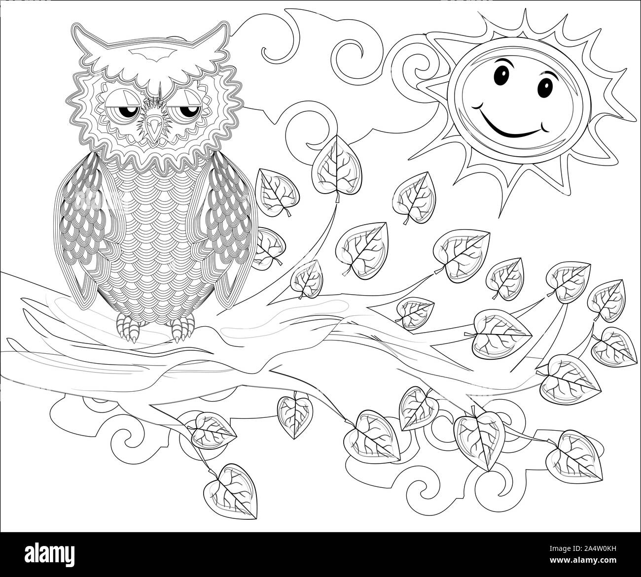 coloring pages birds cute owl sits on tree 2A4W0KH