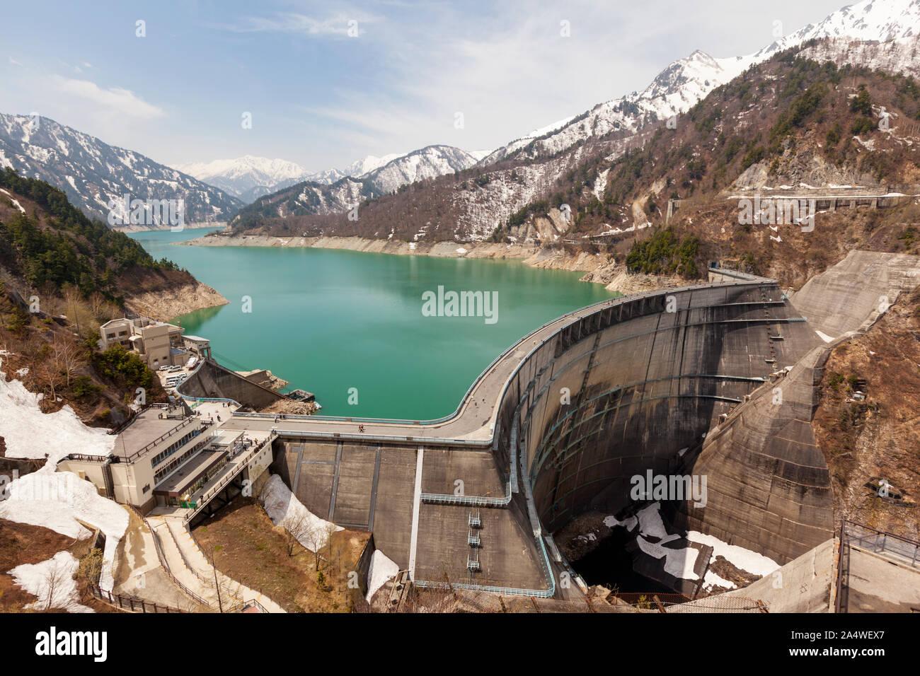 Wide view of Kurobe Dam and reservoir in Toyama, Japan Stock Photo