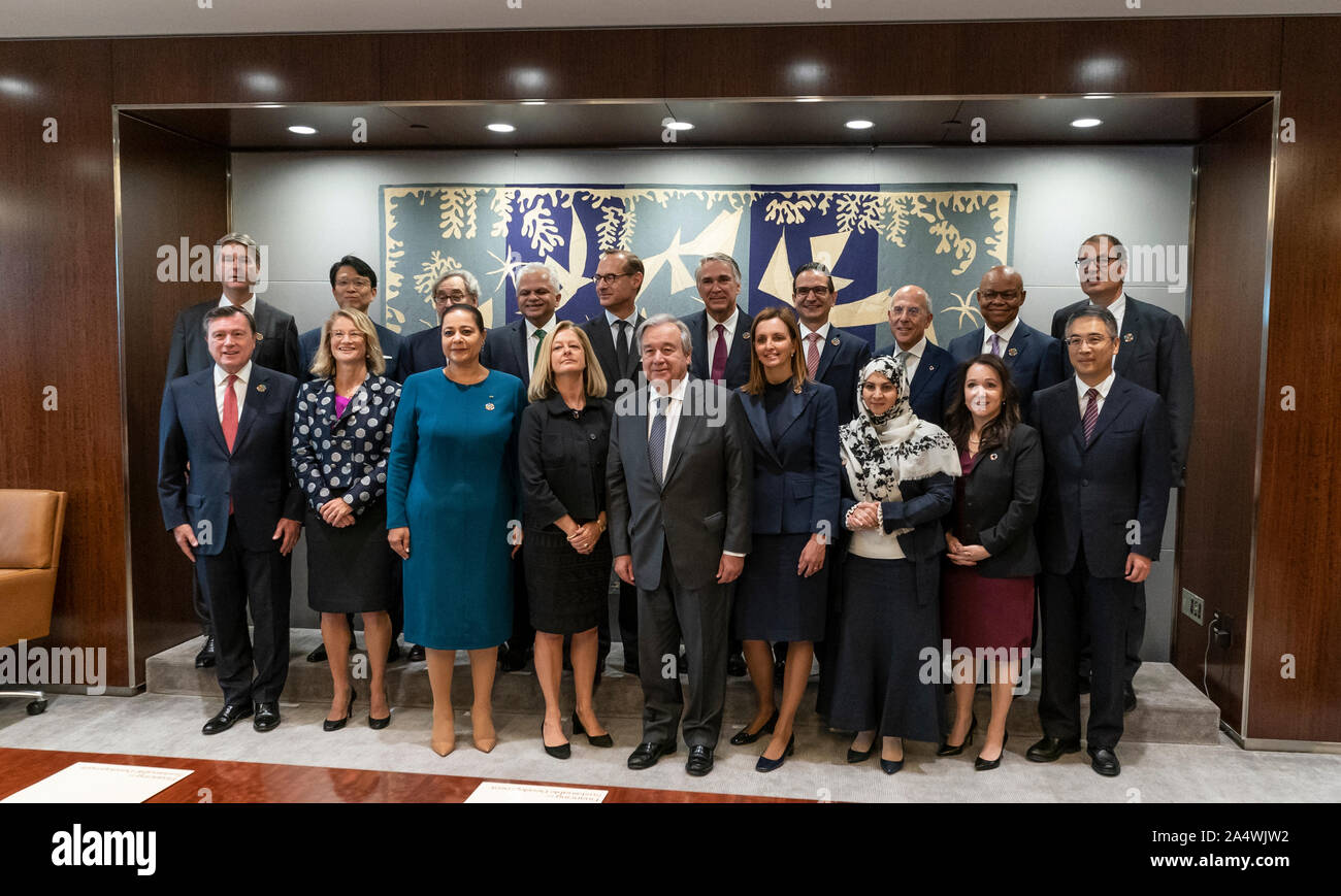 New York, NY - October 16, 2019: UN Secretary-General Antonio Guterres hosts Inaugural Meeting of the Global Investors for Sustainable Development Alliance at UN Headquarters Stock Photo