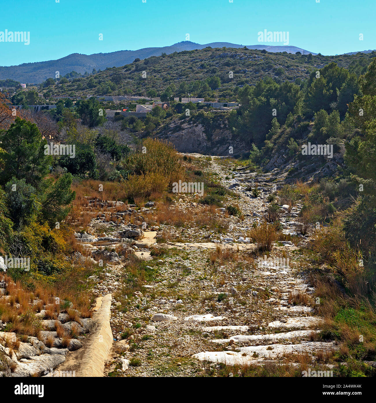 Dry River Bed in the gorge at Gata de Gorges in the Province of Alicante, Spain Stock Photo