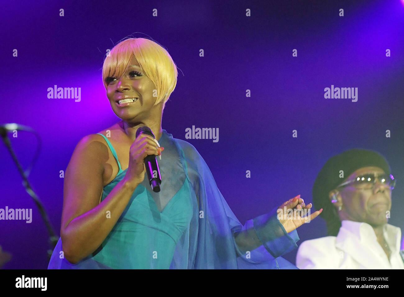 Rio de Janeiro, Brazil, October 3, 2019. Singer Kimberly Davis of Chic band during a show at Rock in Rio 2019 in Rio de Janeiro. Stock Photo