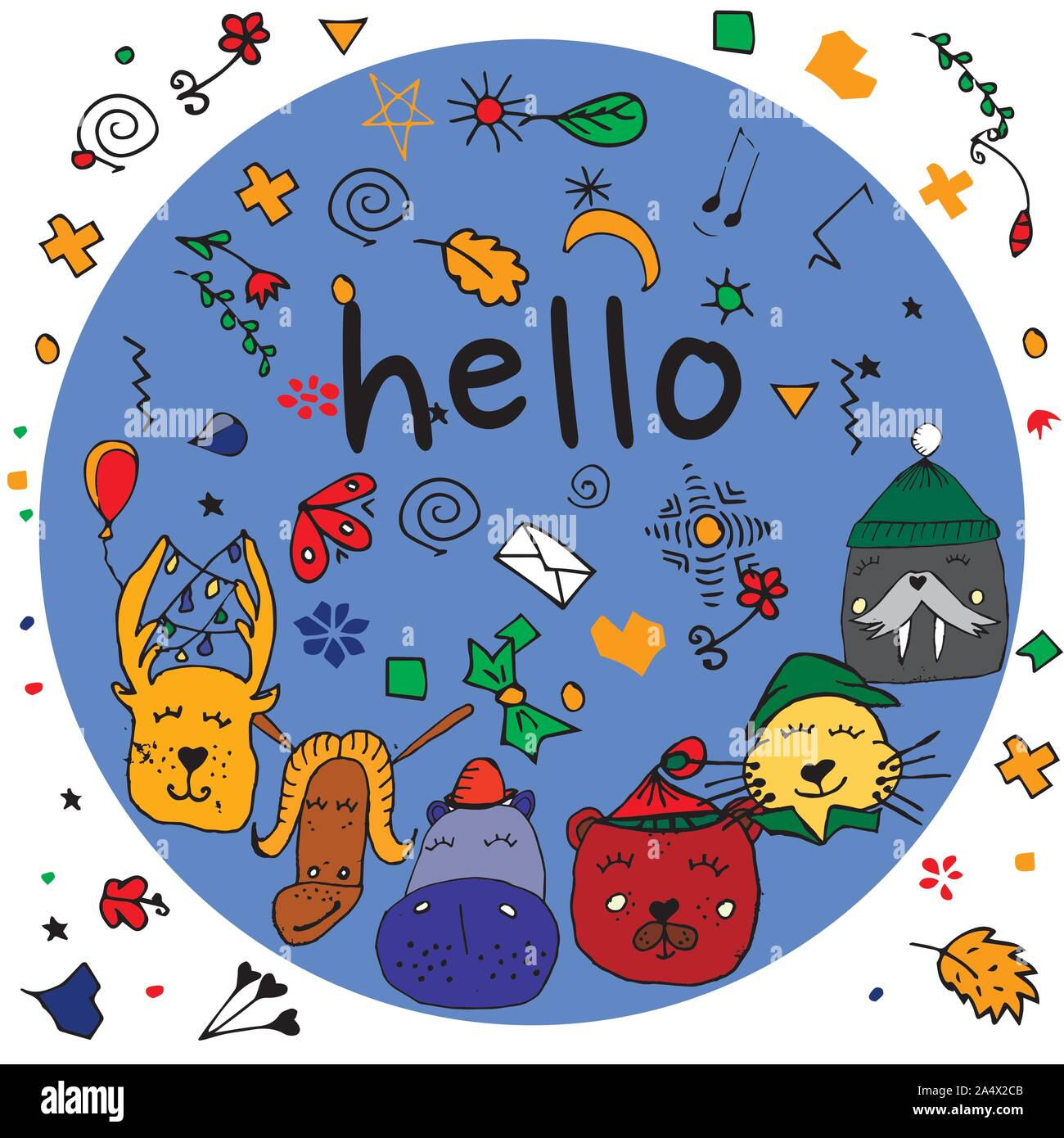 Colorful animal friends collection including walrus, hippo,goat,cat,deer,bear.Cute hand drawn doodles.Good for posters, stickers, cards, alphabet and Stock Vector