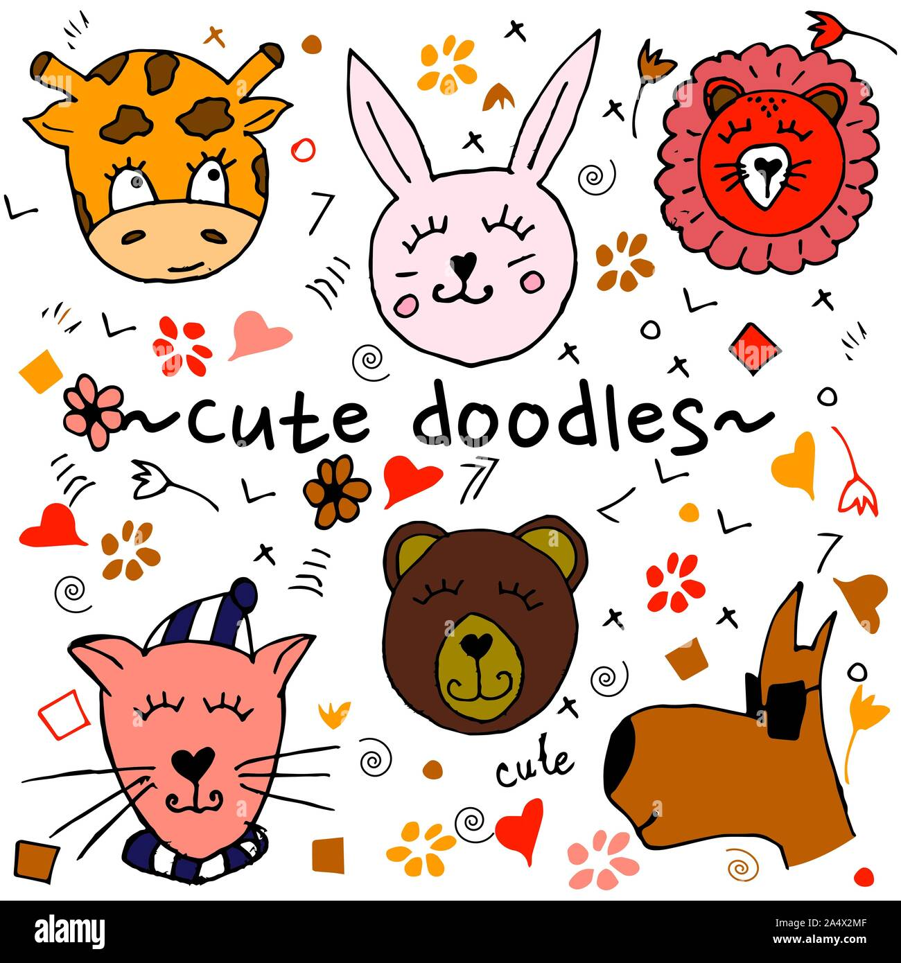 Colorful animal friends collection including dog, cat, giraffe, bear, lion, rabbit.Cute hand drawn doodles.Good for posters, stickers, cards, alphabet Stock Vector