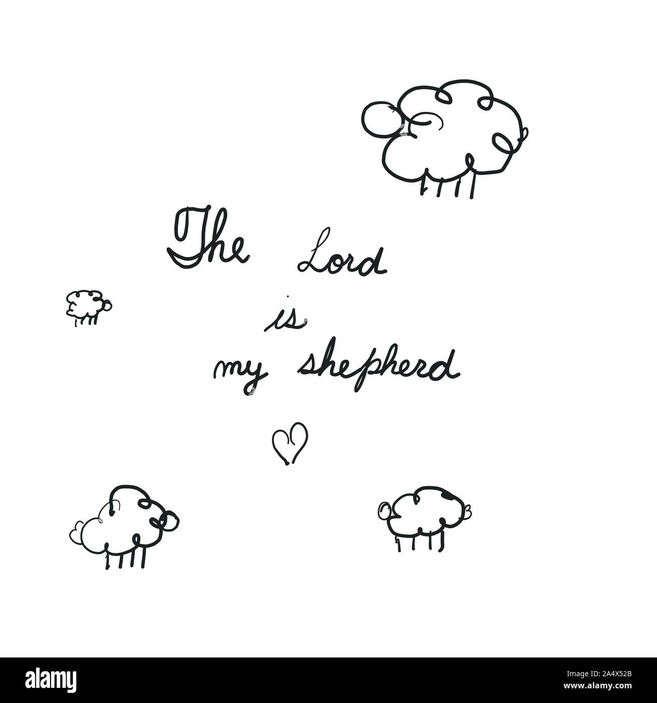 Sheep On The Field Hand Lettering Psalm 23 The Lord Is My Shepherd Biblical Background Vector Illustration Stock Vector Image Art Alamy