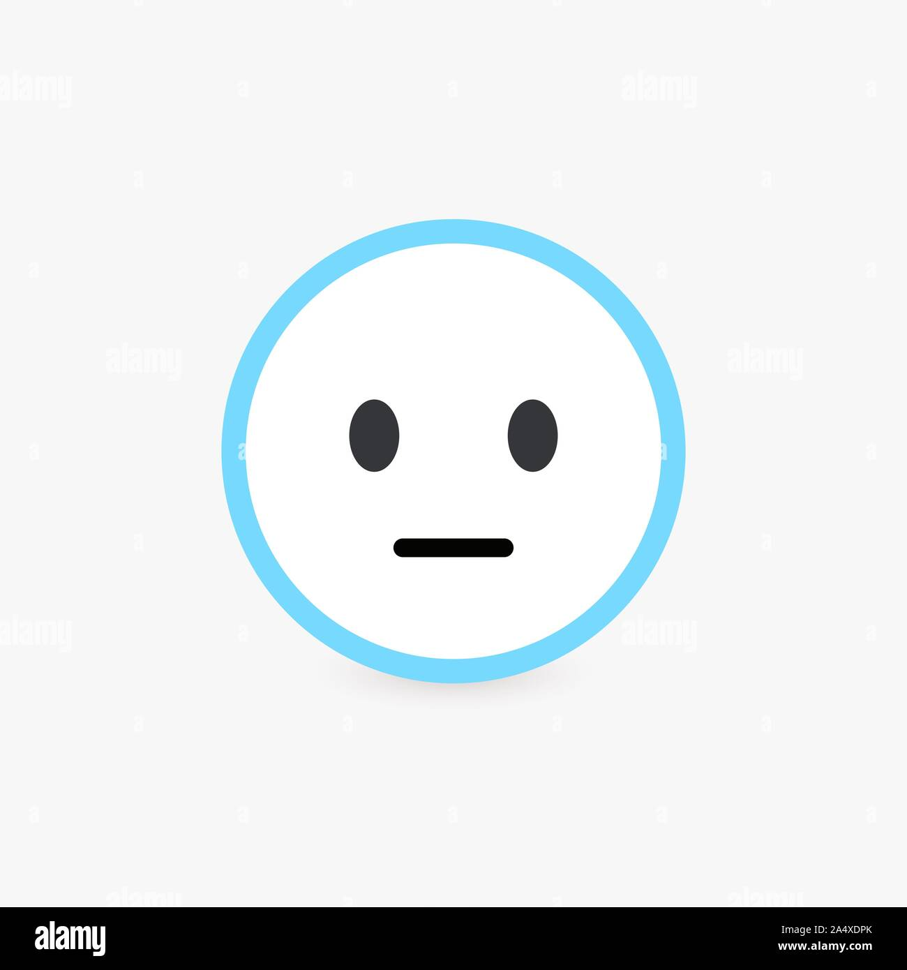 Neutral Face Normal Customer Review And Emotional Assessment Of Goods Or Services Quality Poker Face Icon With Bright Blue Contour Flat Emoticon Stock Vector Image Art Alamy