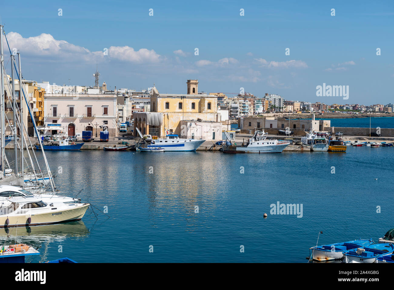 View across harbour to Chiesa di Santa Maria del Canneto (Church of Saint Mary) in Gallipoli, Apulia (Puglia) in Southern Italy Stock Photo