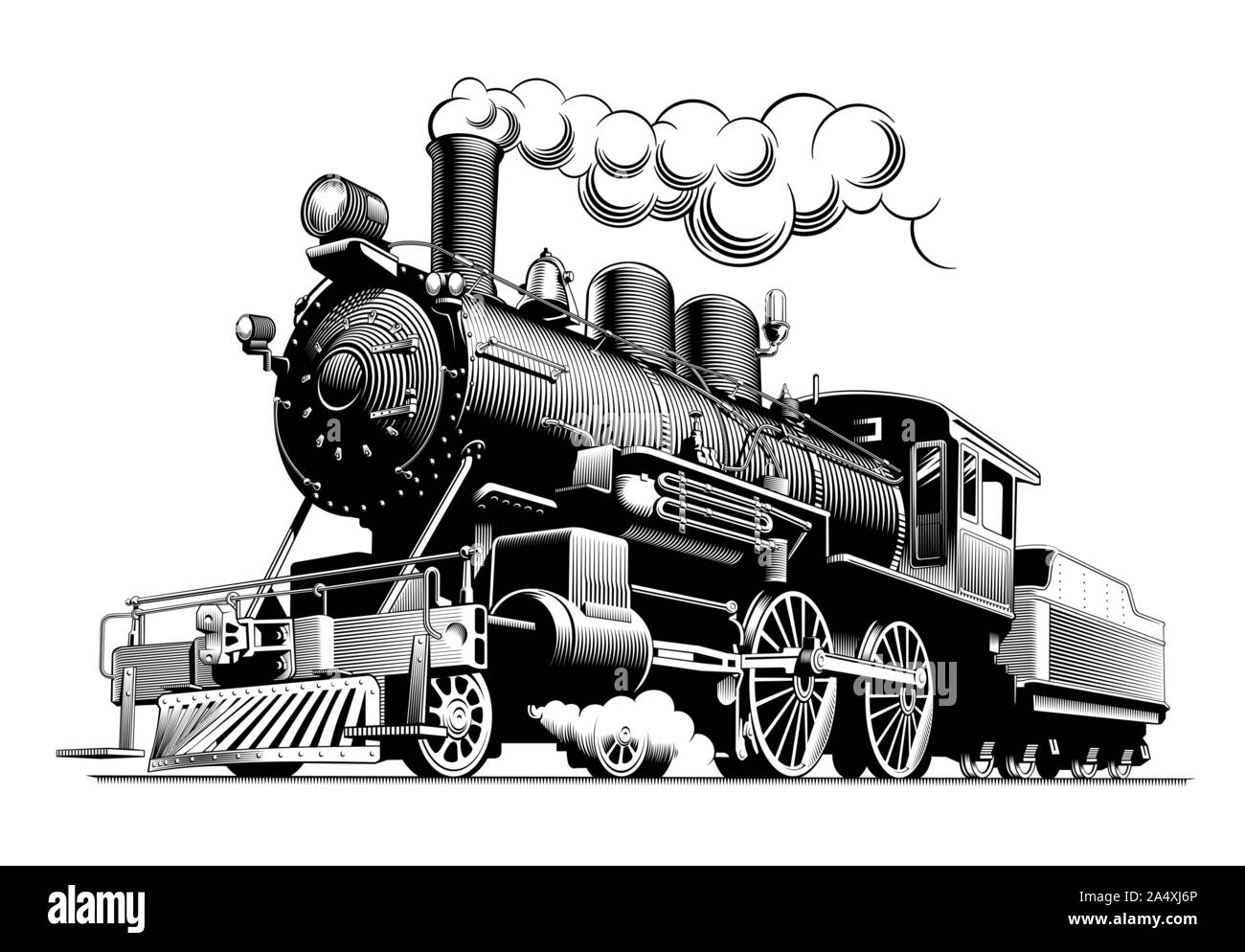 Vintage Steam Train Locomotive Engraving Style Vector Illustration On Brown Background Logo Design Template Stock Vector Image Art Alamy