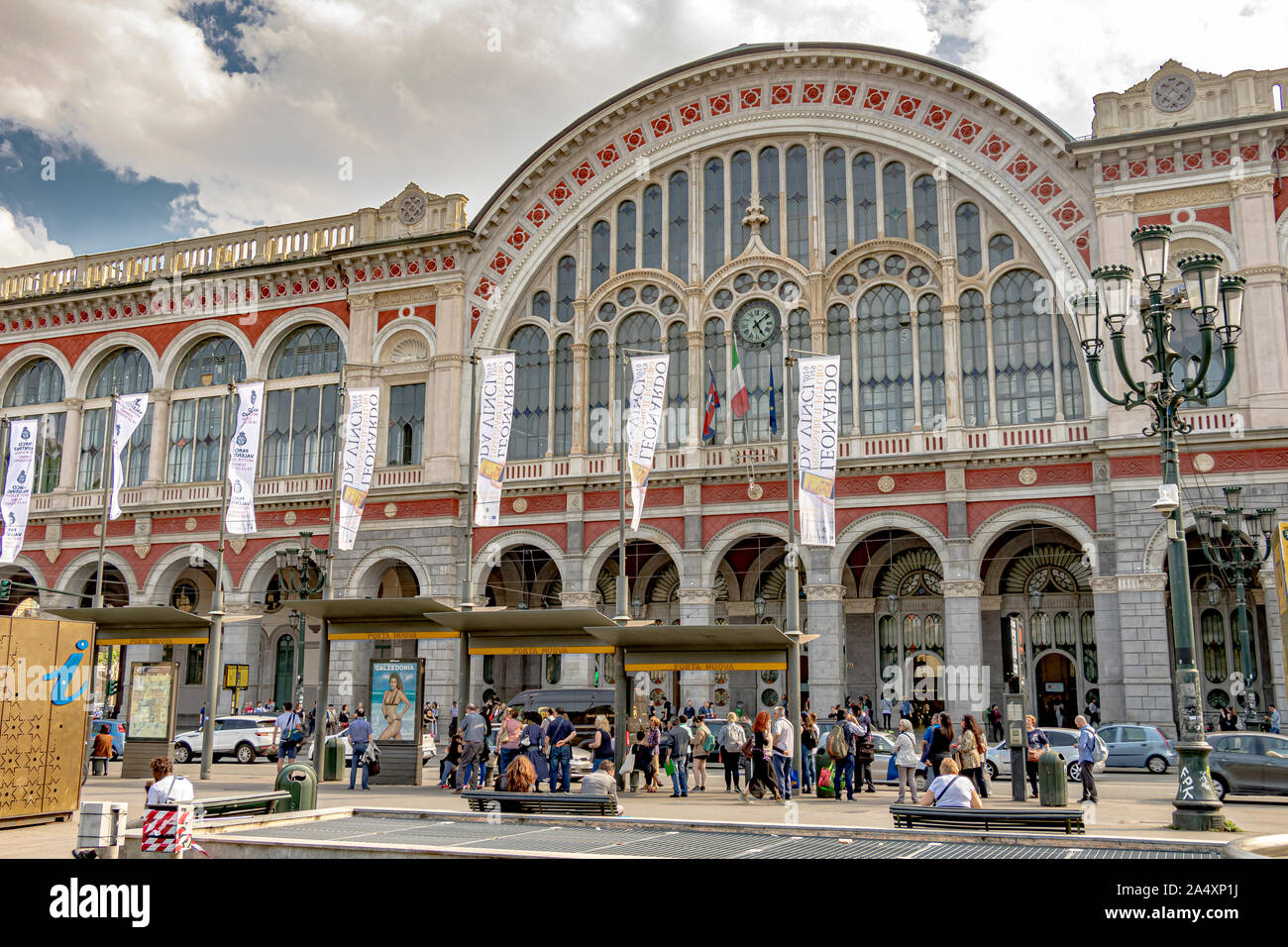 The front entrance of Torino Porta Nuova railway station ,Turin's main and busiest  railway station ,Turin ,Italy Stock Photo